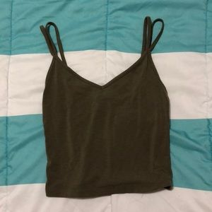 olive double strap tank